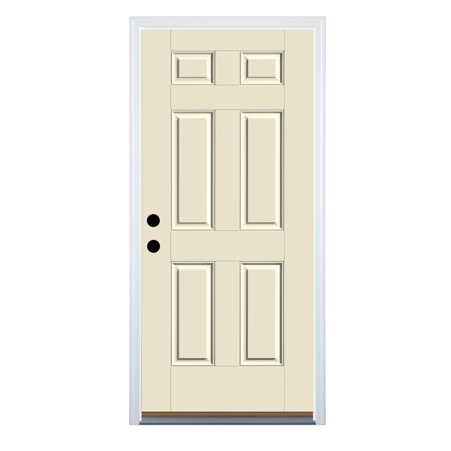 Therma-Tru Benchmark Doors 6-Panel Insulating Core Right-Hand Inswing Ready to Paint Fiberglass Unfinished Prehung Entry Door (Common: 32.0-in x 80.0-in; Actual: 33.5-in x 81.5-in)