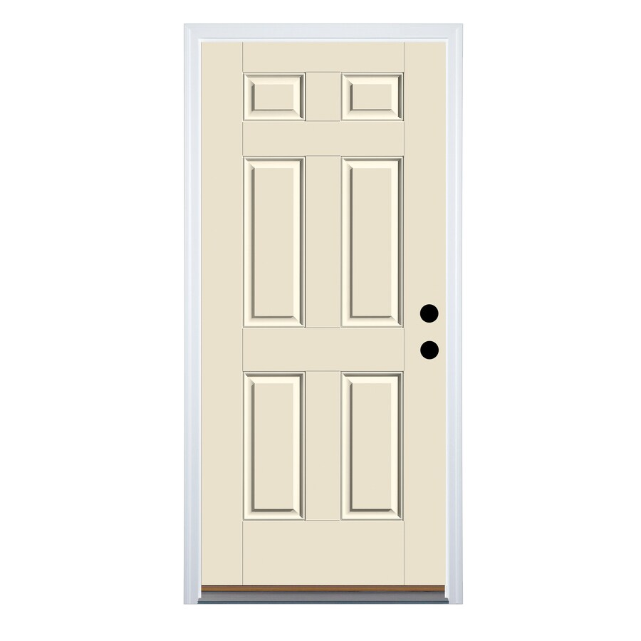 Therma-Tru Benchmark Doors 6-Panel Insulating Core Left-Hand Inswing Fiberglass Unfinished Prehung Entry Door (Common: 32-in x 80-in; Actual: 33.5-in x 81.5-in)