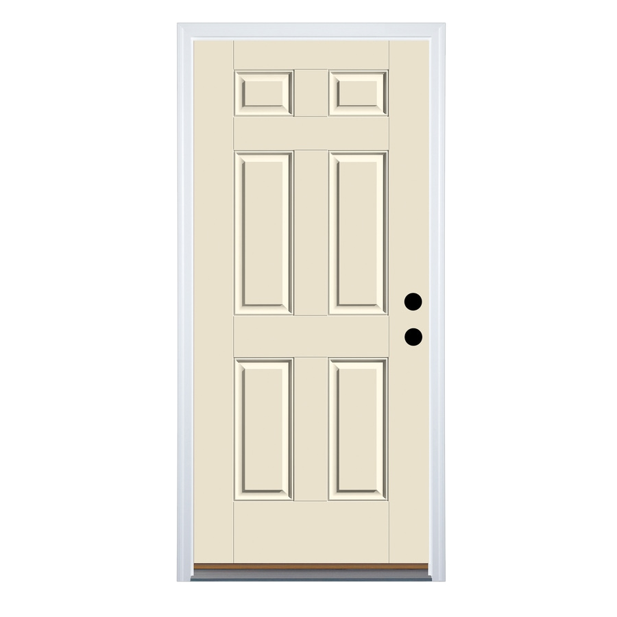 Therma-Tru Benchmark Doors 6-Panel Insulating Core Left-Hand Inswing Fiberglass Unfinished Prehung Entry Door (Common: 36-in x 80-in; Actual: 37.5-in x 81.5-in)