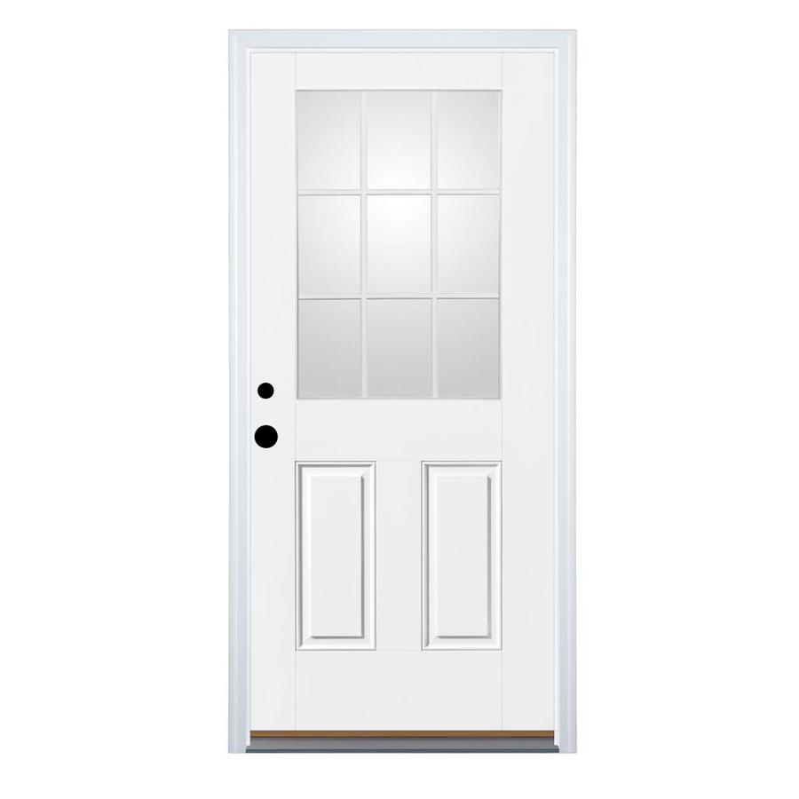 Therma-Tru Benchmark Doors 2-Panel Insulating Core 9-Lite Right-Hand Inswing Ready To Paint Fiberglass Prehung Entry Door (Common: 32-in x 80-in; Actual: 33.5-in x 81.5-in)
