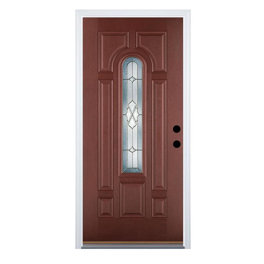 Therma-Tru Benchmark Doors Willowbrook 8-Panel Insulating Core Center Arch Lite Left-Hand Inswing Dark Mahogany Fiberglass Stained Prehung Entry Door (Common: 36-in x 80-in; Actual: 37.5-in x 81.5-in)