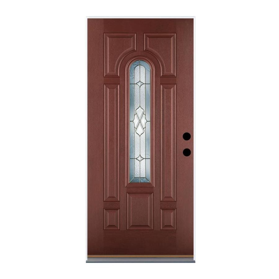 Therma-Tru Benchmark Doors Willowbrook 8-Panel Insulating Core Center Arch Lite Left-Hand Inswing Dark Mahogany Fiberglass Stained Prehung Entry Door (Common: 36.0-in x 80.0-in; Actual: 37.5-in x 81.5-in)