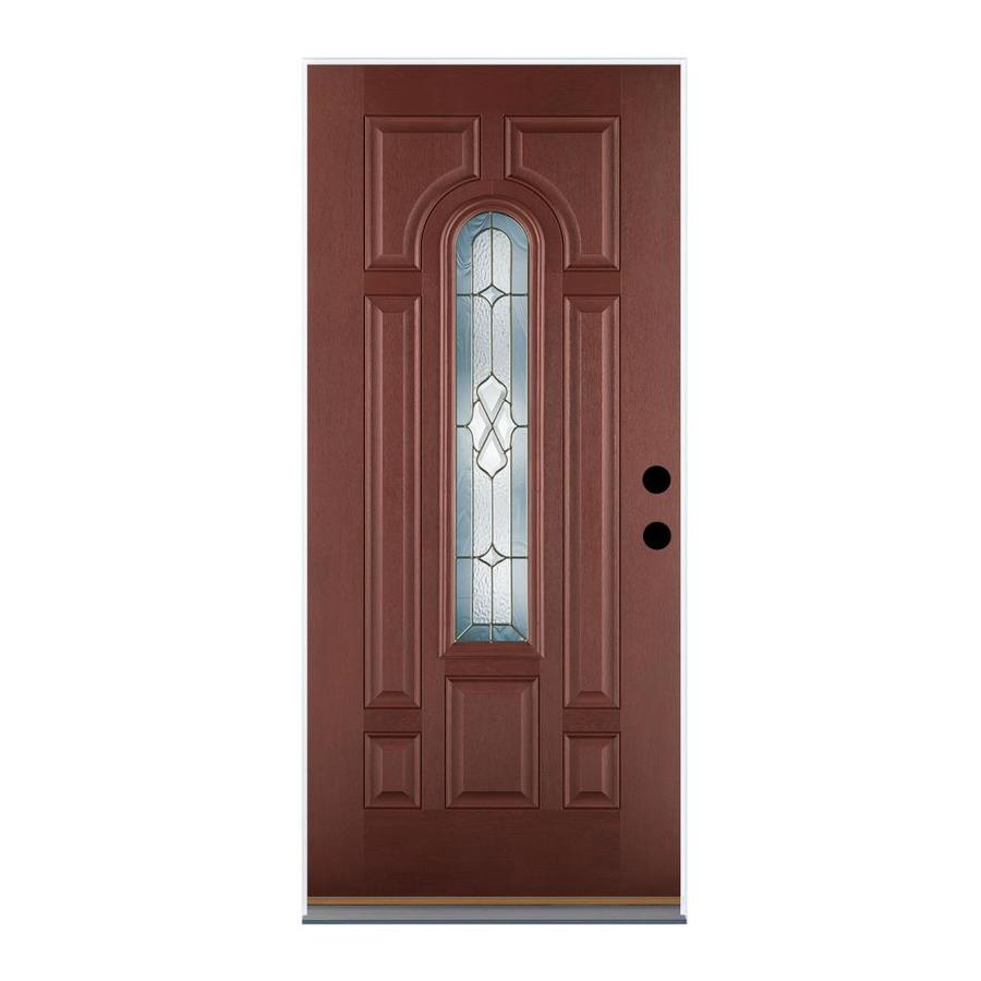 Therma-Tru Benchmark Doors Willowbrook 8-Panel Insulating Core Center Arch Lite Right-Hand Outswing Dark Mahogany Fiberglass Stained Prehung Entry Door (Common: 36-in x 80-in; Actual: 37.5-in x 80.5-in)