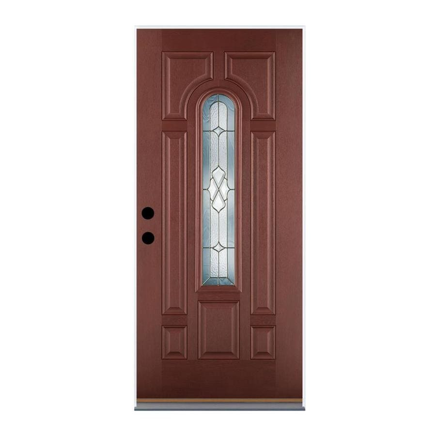 Therma-Tru Benchmark Doors Willowbrook 8-Panel Insulating Core Center Arch Lite Left-Hand Outswing Dark Mahogany Fiberglass Stained Prehung Entry Door (Common: 36-in x 80-in; Actual: 37.5-in x 80.5-in)