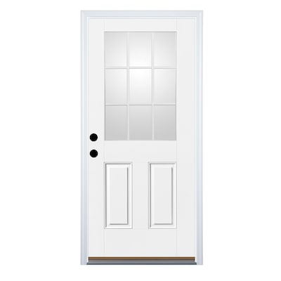 Therma Tru Benchmark Doors Half Lite Simulated Divided Light Right Hand Inswing Ready To Paint Fiberglass Prehung Entry Door With Insulating Core (Common: 32 In X 80 In; Actual: 33.5 In X 81.5 In) by Lowe's