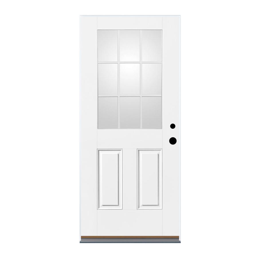 Therma-Tru Benchmark Doors 2-Panel Insulating Core 9-Lite Right-Hand Outswing Fiberglass Unfinished Prehung Entry Door (Common: 32-in x 80-in; Actual: 33.5-in x 80.5-in)