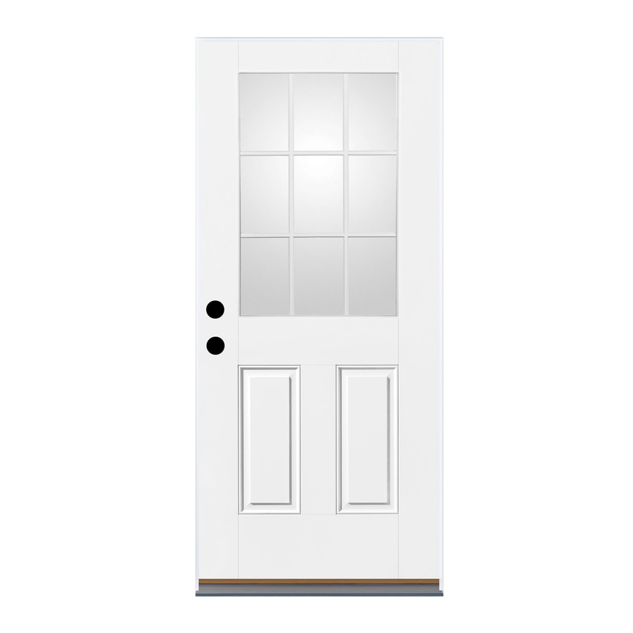 Therma-Tru Benchmark Doors 2-Panel Insulating Core 9-Lite Left-Hand Outswing Ready to Paint Fiberglass Unfinished Prehung Entry Door (Common: 32-in x 80-in; Actual: 33.5-in x 80.5-in)