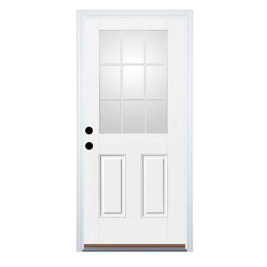 Therma-Tru Benchmark Doors 2-Panel Insulating Core 9-Lite Right-Hand Inswing Ready to Paint Fiberglass Unfinished Prehung Entry Door (Common: 32-in x 80-in; Actual: 33.5-in x 81.5-in)