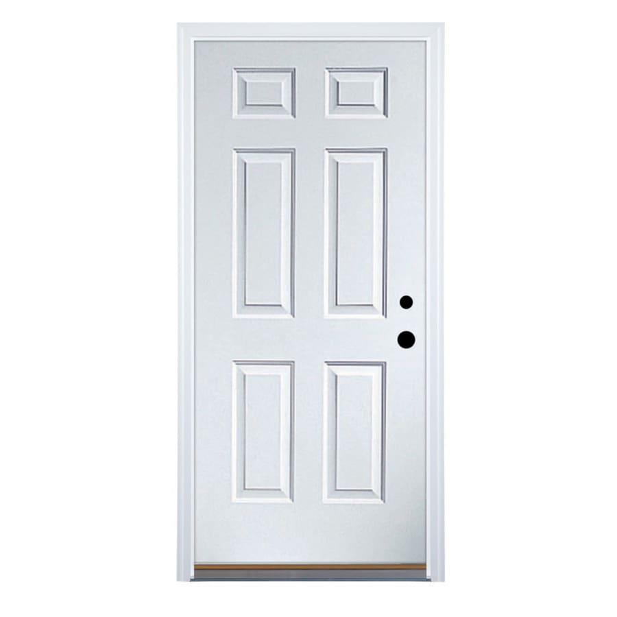 Shop therma tru benchmark doors left hand inswing ready to paint primed steel entry door with - Painting a steel exterior door model ...