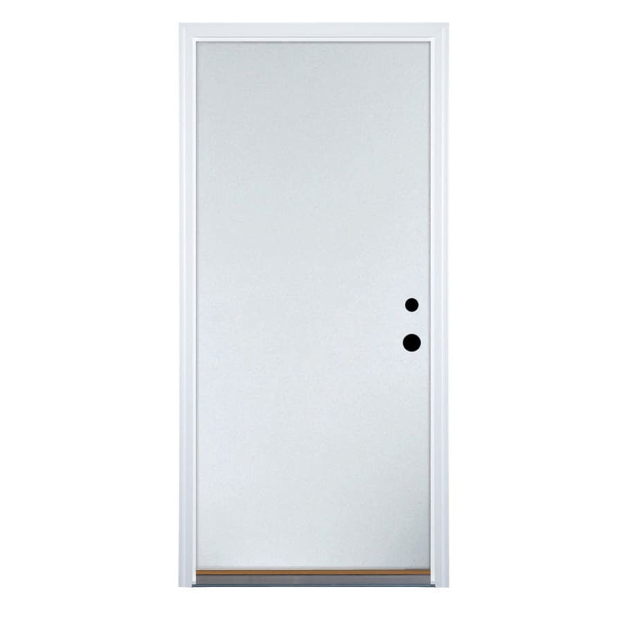 Therma-Tru Benchmark Doors Flush Insulating Core Left-Hand Inswing White Steel Primed Prehung Entry Door (Common: 32-in x 80-in; Actual: 33.5-in x 81.5-in)