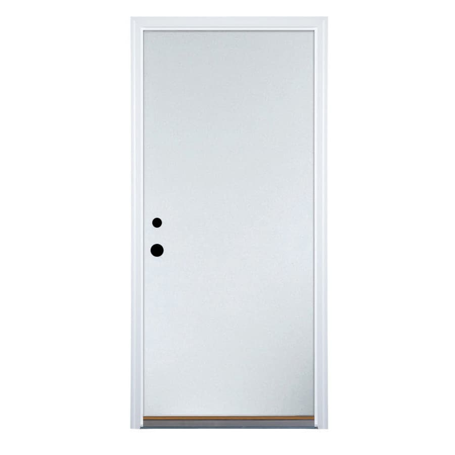 Therma-Tru Benchmark Doors Flush Insulating Core Right-Hand Inswing Ready To Paint Steel Primed Prehung Entry Door (Common: 36-in x 80-in; Actual: 37.5-in x 81.5-in)