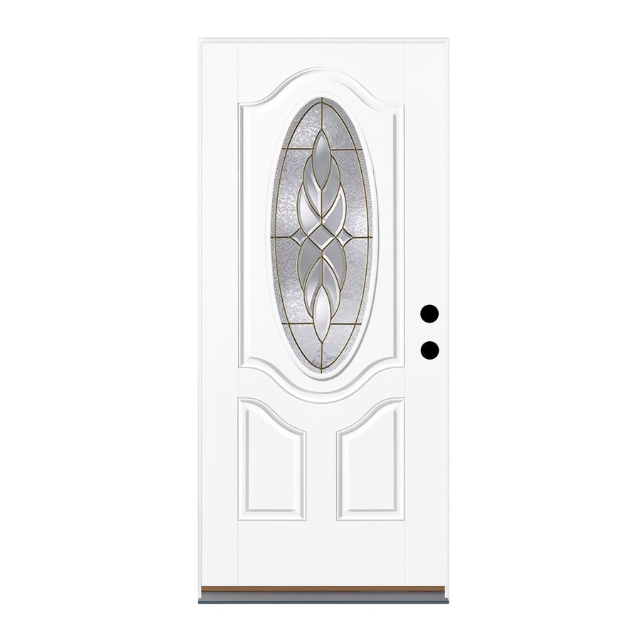 Therma-Tru Benchmark Doors Varissa 2-Panel Insulating Core Oval Lite Left-Hand Outswing Fiberglass Unfinished Prehung Entry Door (Common: 36-in x 80-in; Actual: 37.5-in x 80.5-in)