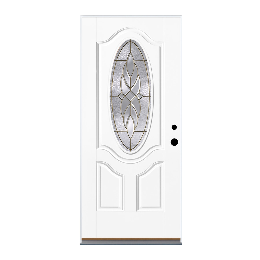 Therma-Tru Benchmark Doors Varissa 2-Panel Insulating Core Oval Lite Right-Hand Outswing Fiberglass Unfinished Prehung Entry Door (Common: 36-in x 80-in; Actual: 37.5-in x 80.5-in)