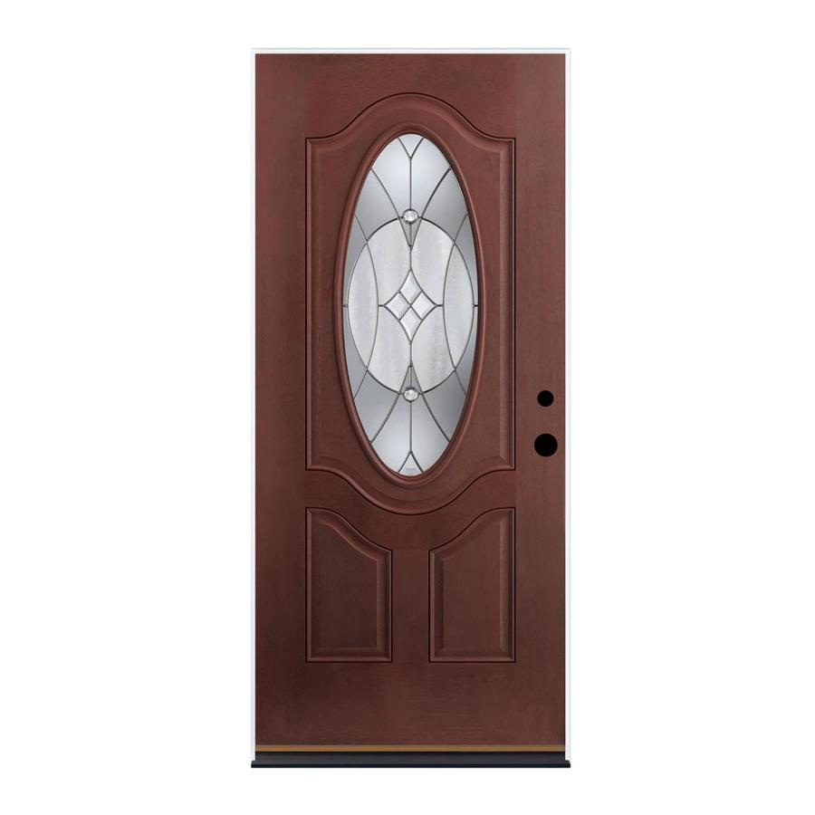 Therma-Tru Benchmark Doors Delano 2-Panel Insulating Core Oval Lite Left-Hand Inswing Dark Mahogany Fiberglass Stained Prehung Entry Door (Common: 36.0-in x 80.0-in; Actual: 37.5-in x 81.5-in)
