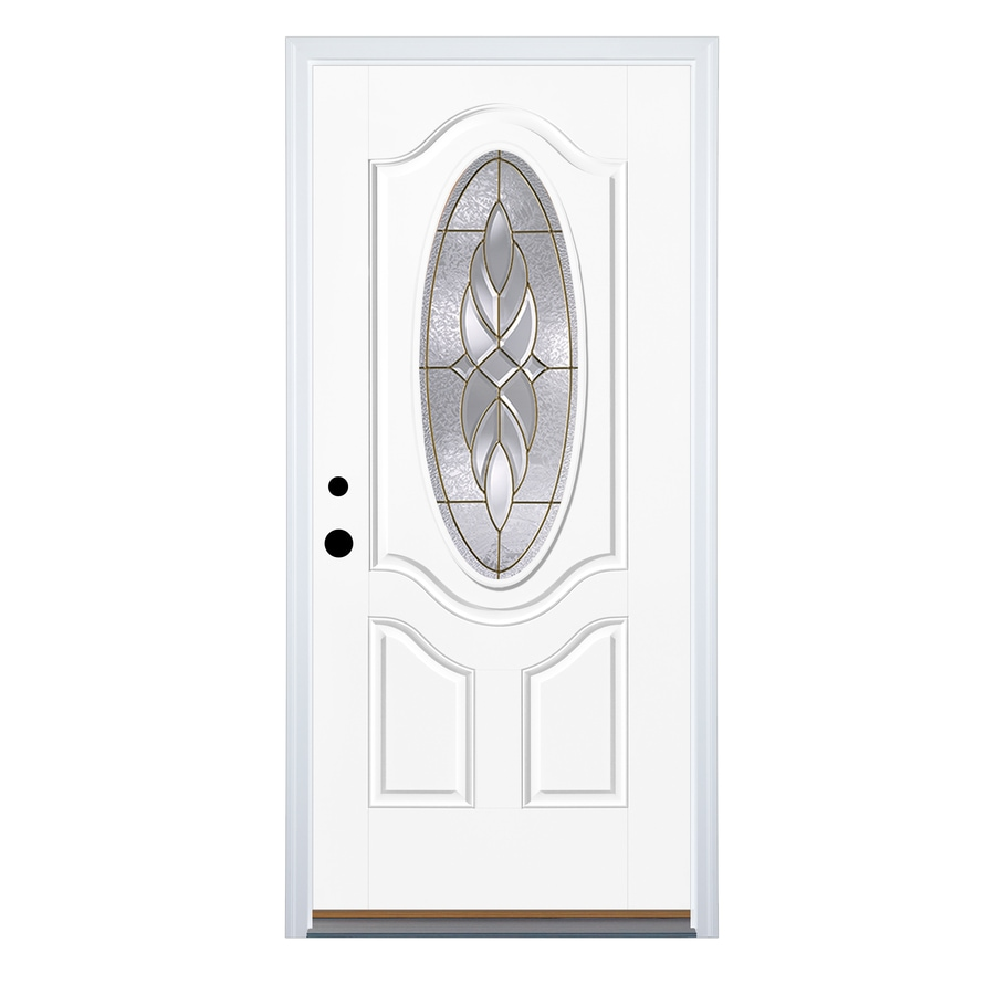 Therma Tru Benchmark Doors Varissa 2 Panel Insulating Core Oval Lite  Right Hand