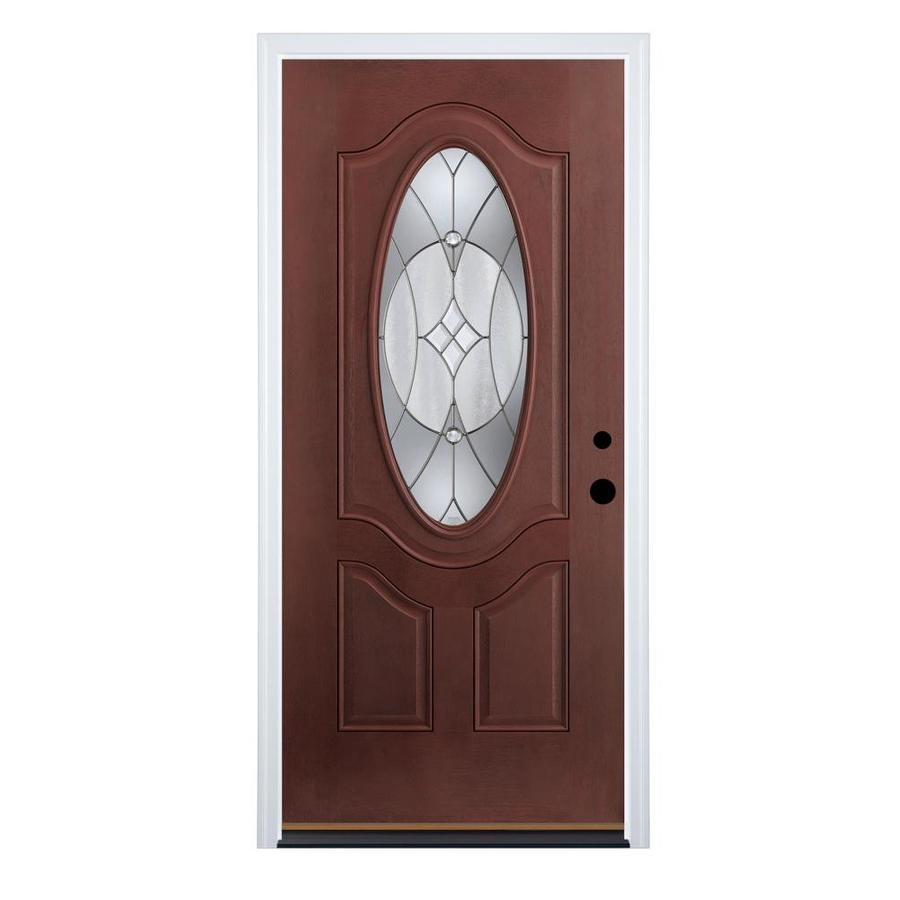 Therma-Tru Benchmark Doors Delano 2-Panel Insulating Core Oval Lite Left-Hand Inswing Dark Mahogany Fiberglass Stained Prehung Entry Door (Common: 36-in x 80-in; Actual: 37.5-in x 81.5-in)