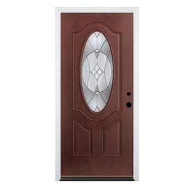 Therma Tru Benchmark Doors Delano 2 Panel Insulating Core Oval Lite Dark  Mahogany Fiberglass