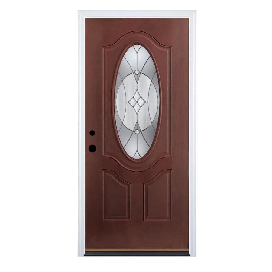 Therma-Tru Benchmark Doors Delano Right-Hand Inswing Dark Mahogany Stained Fiberglass Entry Door with Insulating Core (Common: 36-in x 80-in; Actual: 37.5-in x 81.5-in)