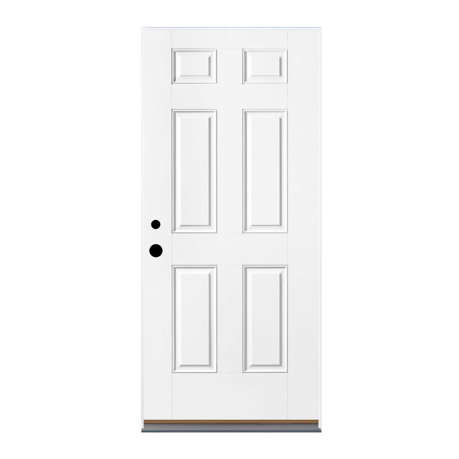 Therma-Tru Benchmark Doors 6-Panel Insulating Core Left-Hand Outswing Ready To Paint Fiberglass Prehung Entry Door (Common: 36-in x 80-in; Actual: 37.5-in x 80.5-in)