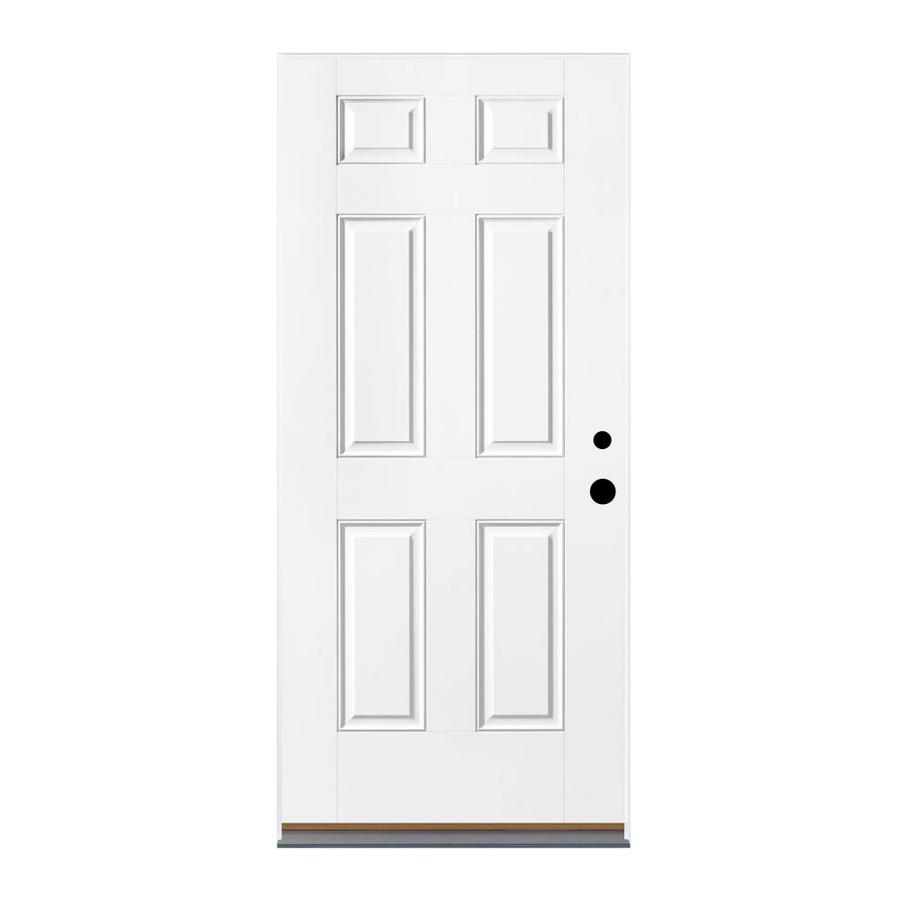 Therma-Tru Benchmark Doors 6-Panel Insulating Core Right-Hand Outswing Ready to Paint Fiberglass Unfinished Prehung Entry Door (Common: 36.0-in x 80.0-in; Actual: 37.5-in x 80.5-in)