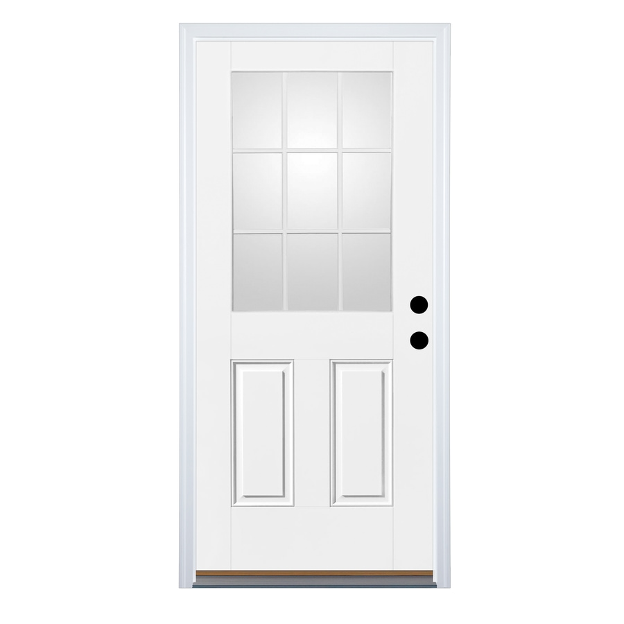 Shop therma tru benchmark doors left hand inswing ready to paint fiberglass entry door with for Lowes fiberglass exterior doors