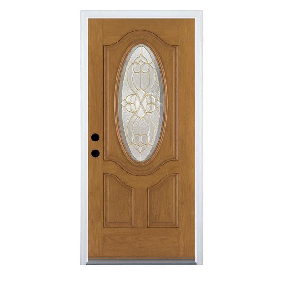 Therma-Tru Benchmark Doors Willowbrook 2-Panel Insulating Core Oval Lite Right-Hand Inswing Medium Oak Fiberglass Stained Prehung Entry Door (Common: 34-in x 80-in; Actual: 35.5-in x 81.5-in)