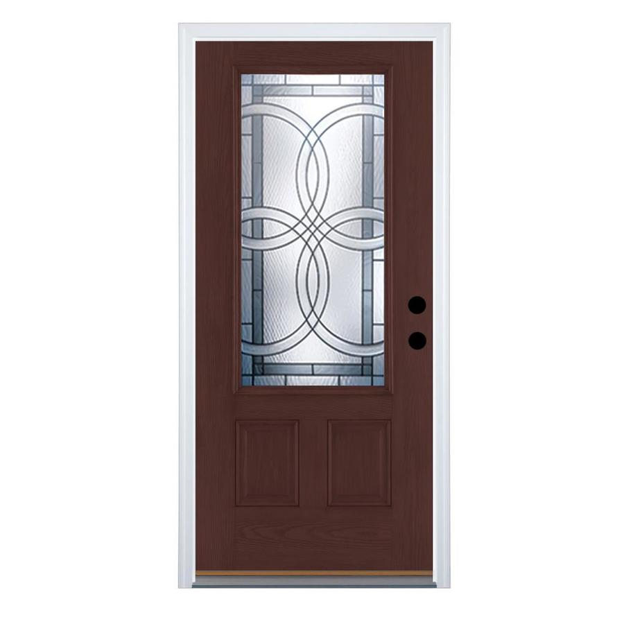Therma-Tru Benchmark Doors Terracourt 2-Panel Insulating Core 3/4 Lite Left-Hand Inswing Dark Mahogany Fiberglass Stained Prehung Entry Door (Common: 34-in x 80-in; Actual: 35.5-in x 81.5-in)