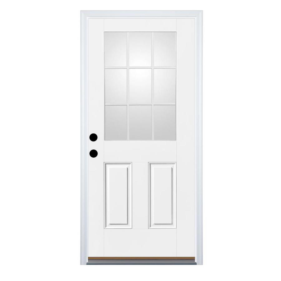 Therma-Tru Benchmark Doors 2-Panel Insulating Core 9-Lite Right-Hand Inswing White Fiberglass Primed Prehung Entry Door (Common: 30-in x 80-in; Actual: 31.5-in x 81.5-in)