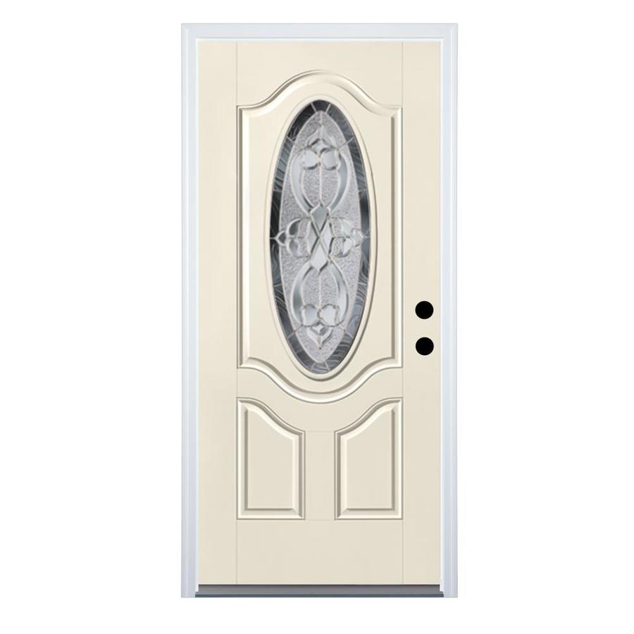 Therma-Tru Benchmark Doors Willowbrook 2-Panel Insulating Core Oval Lite Left-Hand Inswing White Fiberglass Primed Prehung Entry Door (Common: 36-in x 80-in; Actual: 37.5-in x 81.5-in)