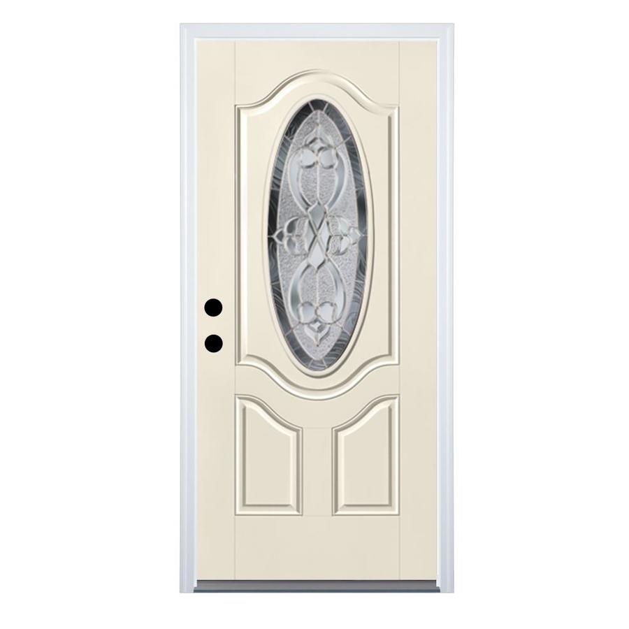Therma-Tru Benchmark Doors Willowbrook 2-Panel Insulating Core Oval Lite Right-Hand Inswing White Fiberglass Primed Prehung Entry Door (Common: 36-in x 80-in; Actual: 37.5-in x 81.5-in)