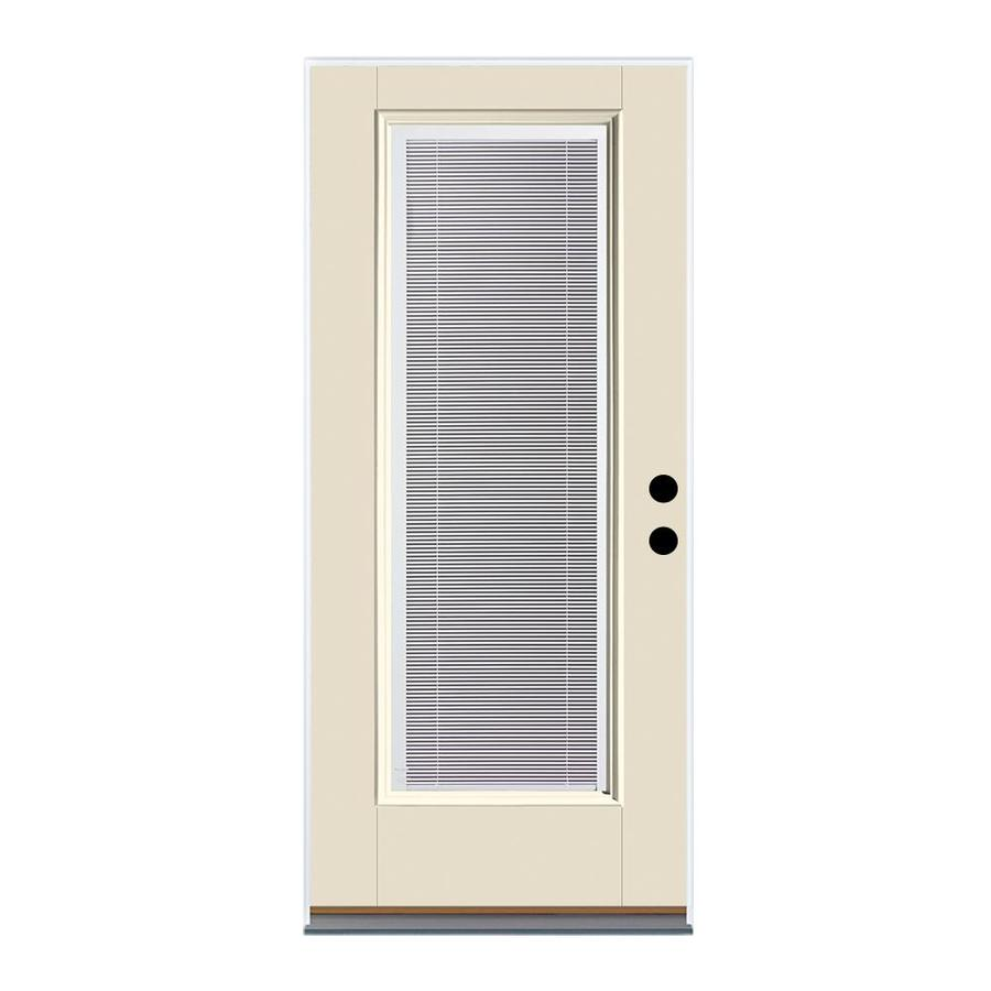Therma-Tru Benchmark Doors 2-Panel Insulating Core Blinds Between The Glass Half Lite Left-Hand Inswing White Fiberglass Primed Prehung Entry Door (Common: 32-in x 80-in; Actual: 33.5-in x 81.5-in)