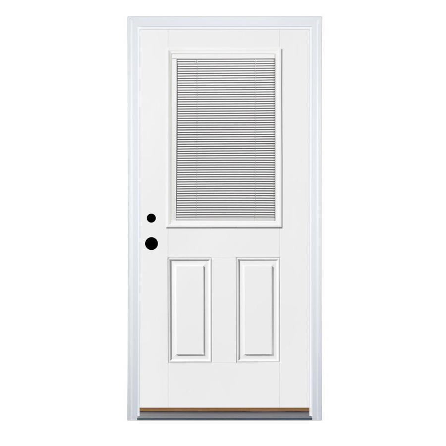 Therma-Tru Benchmark Doors 2-Panel Insulating Core Blinds Between The Glass Half Lite Right-Hand Inswing White Fiberglass Primed Prehung Entry Door (Common: 32-in x 80-in; Actual: 33.5-in x 81.5-in)