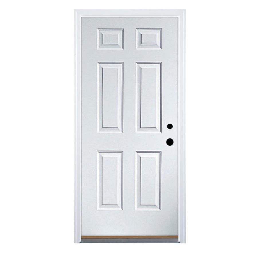 Therma-Tru Benchmark Doors Left-Hand Inswing Ready to Paint Primed Steel Entry Door with Insulating Core (Common: 30-in x 80-in; Actual: 31.5-in x 81.5-in)