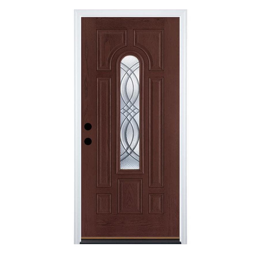 Therma-Tru Benchmark Doors TerraCourt 8-Panel Insulating Core Center Arch Lite Right-Hand Inswing Dark Mahogany Fiberglass Stained Prehung Entry Door (Common: 36-in x 80-in; Actual: 37.5-in x 81.5-in)