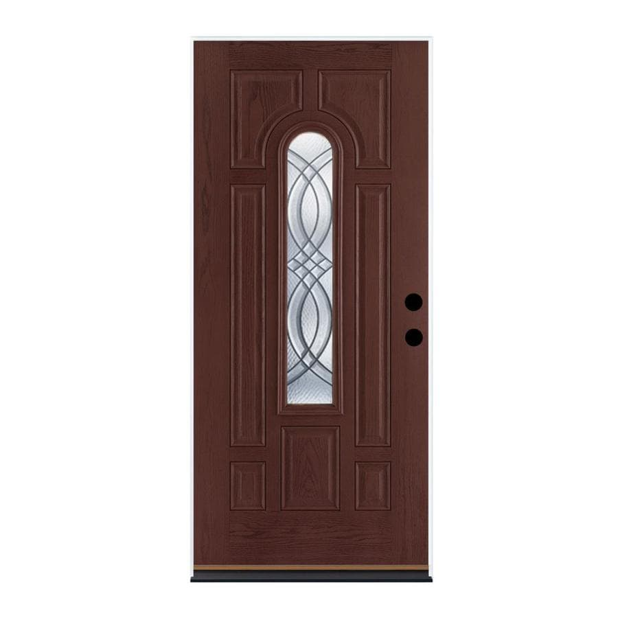 Therma-Tru Benchmark Doors TerraCourt 8-Panel Insulating Core Center Arch Lite Right-Hand Outswing Dark Mahogany Fiberglass Stained Prehung Entry Door (Common: 36-in x 80-in; Actual: 37.5-in x 80.5-in)