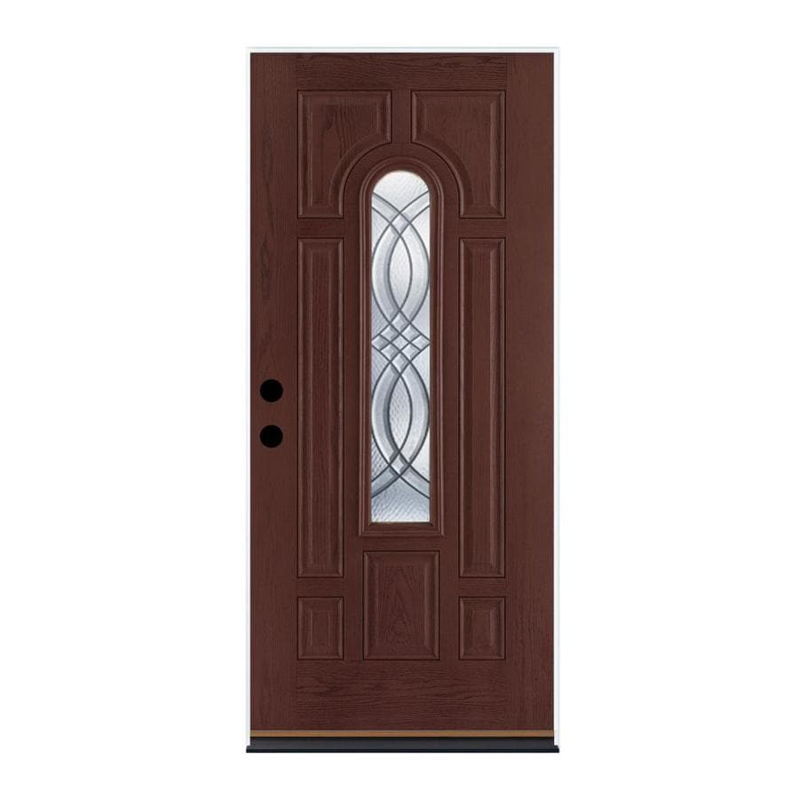 Therma-Tru Benchmark Doors TerraCourt 8-Panel Insulating Core Center Arch Lite Left-Hand Outswing Dark Mahogany Fiberglass Stained Prehung Entry Door (Common: 36-in x 80-in; Actual: 37.5-in x 80.5-in)