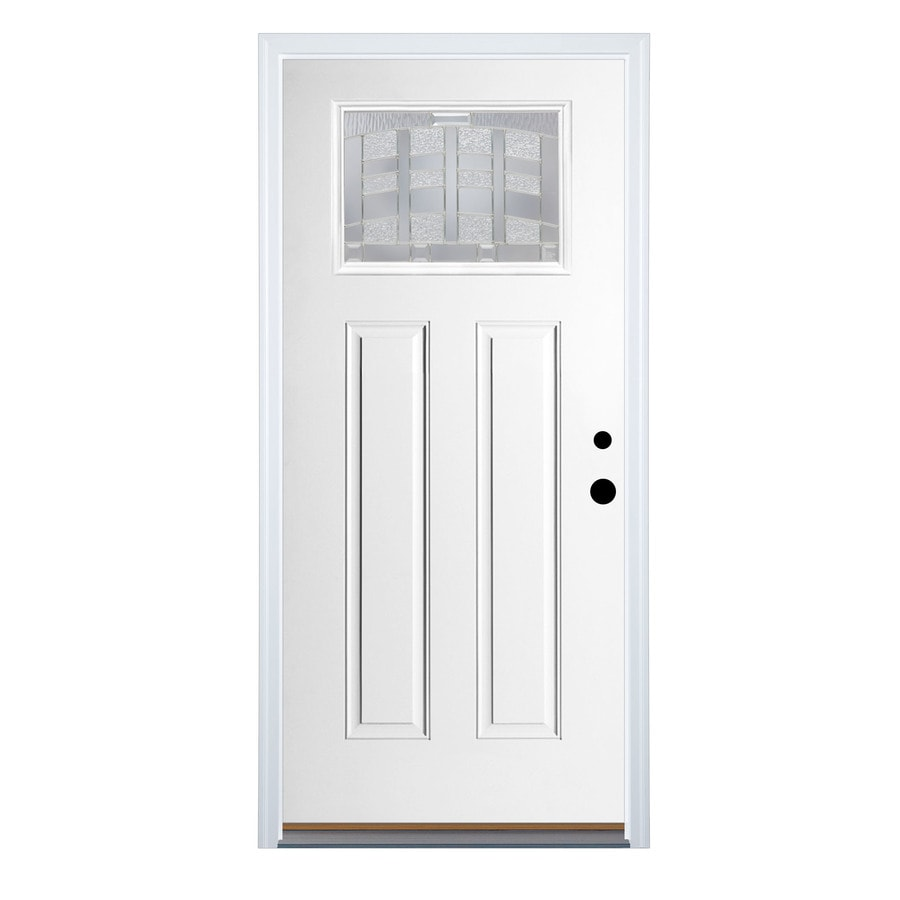 Therma Tru Benchmark Doors Emerson 36 In X 80 In Fiberglass Craftsman Left Hand Inswing Ready To Paint Unfinished Prehung Single Front Door Brickmould Included In The Front Doors Department At Lowes Com The black door with white trim has maximum contrast and style. lowe s
