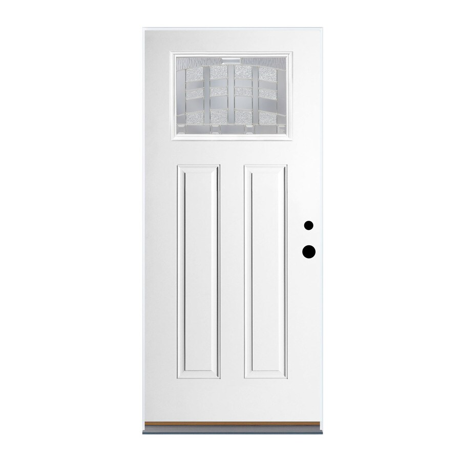 Therma-Tru Benchmark Doors Emerson Craftsman Insulating Core Craftsman 1-Lite Right-Hand Outswing Ready to Paint Fiberglass Unfinished Prehung Entry Door (Common: 36-in x 80-in; Actual: 37.5-in X