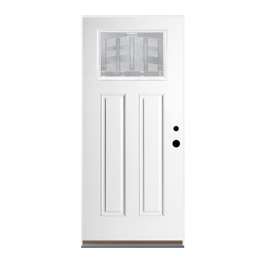 Therma-Tru Benchmark Doors Craftsman Insulating Core Craftsman 1-Lite Right-Hand Outswing Ready to Paint Fiberglass Prehung Entry Door (Common: 36.0-in x 80.0-in; Actual: 37.5-in x 80.5-in)