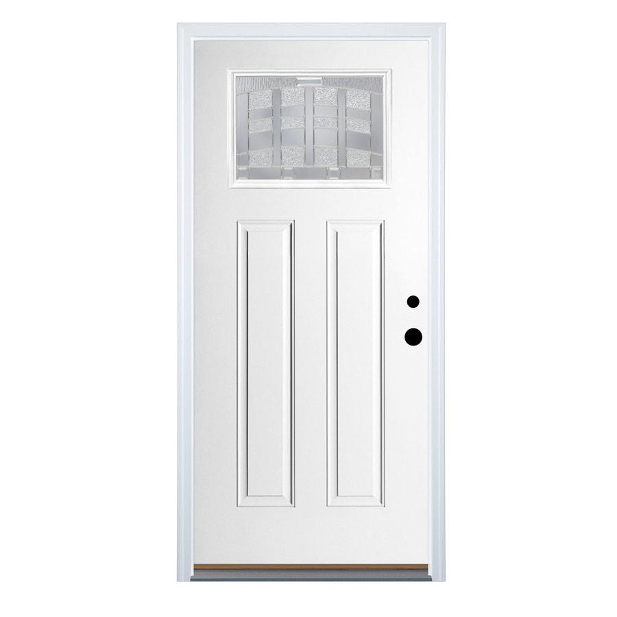Therma-Tru Benchmark Doors Emerson Craftsman Insulating Core Craftsman 1-Lite Left-Hand Inswing Ready To Paint Fiberglass Prehung Entry Door (Common: 36-in x 80-in; Actual: 37.5-in x 81.5-in)