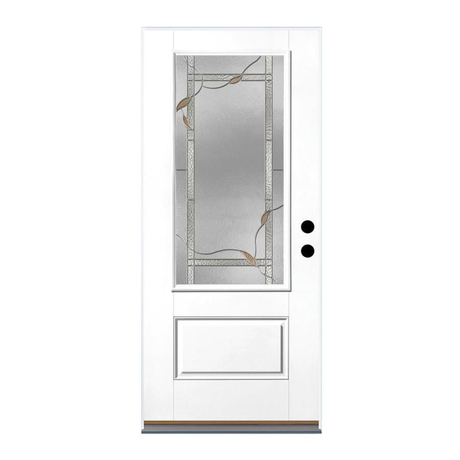 Therma-Tru Benchmark Doors Ashleigh 1-Panel Insulating Core 3/4 Lite Left-Hand Inswing Ready to Paint Fiberglass Prehung Entry Door (Common: 36-in x 80-in; Actual: 37.5-in x 81.5-in)
