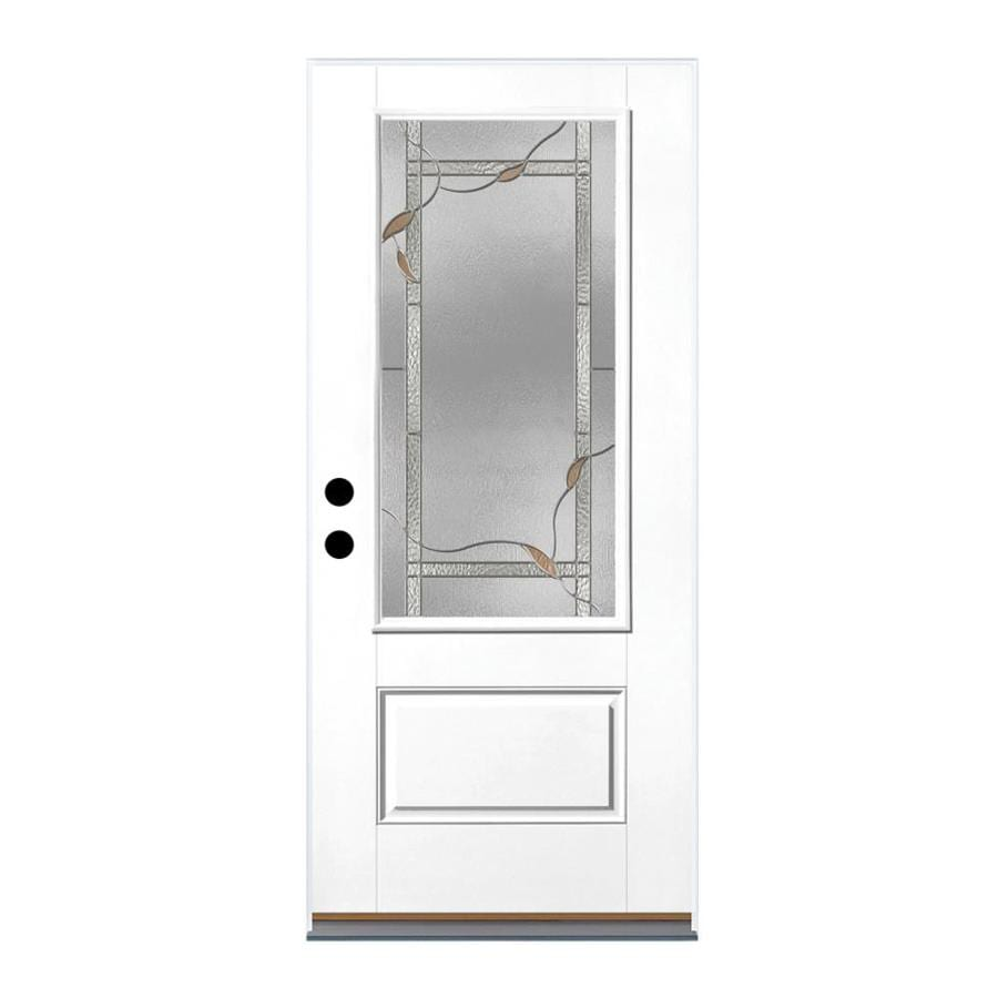 Therma-Tru Benchmark Doors Ashleigh 1-Panel Insulating Core 3/4 Lite Left-Hand Outswing Ready to Paint Fiberglass Primed Prehung Entry Door (Common: 36.0-in x 80.0-in; Actual: 37.5-in x 80.5-in)