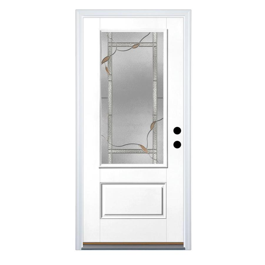 Therma-Tru Benchmark Doors Ashleigh 1-Panel Insulating Core 3/4 Lite Left-Hand Inswing Ready To Paint Fiberglass Primed Prehung Entry Door (Common: 36-in x 80-in; Actual: 37.5-in x 81.5-in)
