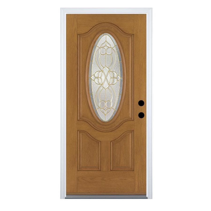 Therma-Tru Benchmark Doors Willowbrook 2-Panel Insulating Core Oval Lite Right-Hand Outswing Medium Oak Fiberglass Stained Prehung Entry Door (Common: 36.0-in x 80.0-in; Actual: 37.5-in x 80.5-in)