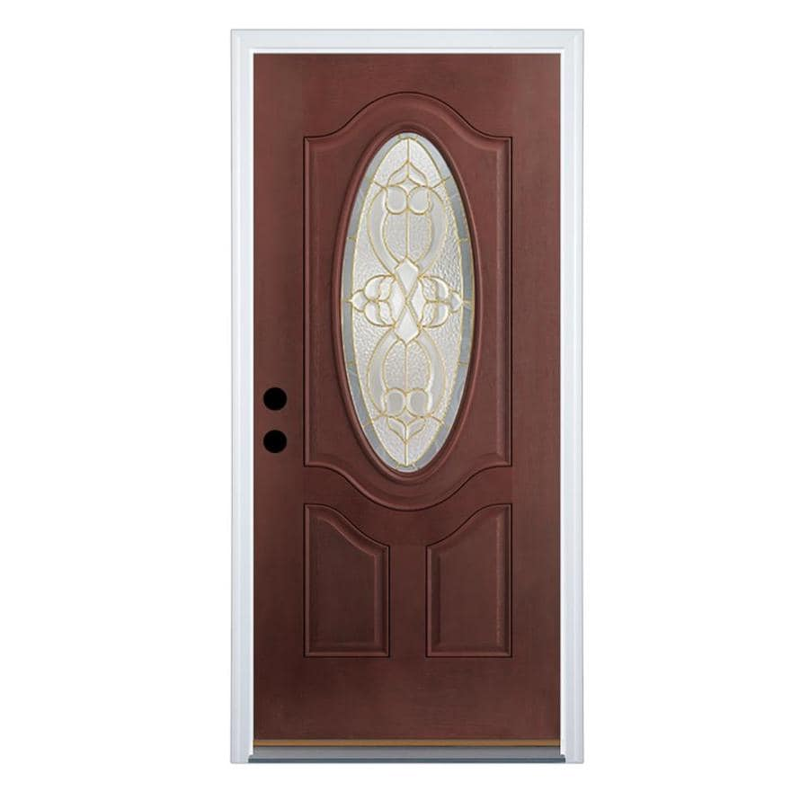 Therma-Tru Benchmark Doors Willowbrook 2-Panel Insulating Core Oval Lite Left-Hand Outswing Dark Mahogany Fiberglass Stained Prehung Entry Door (Common: 36-in x 80-in; Actual: 37.5-in x 80.5-in)