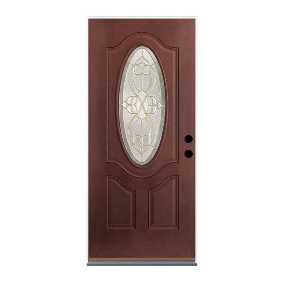 Therma-Tru Benchmark Doors Willowbrook 2-Panel Insulating Core Oval Lite Left-Hand Inswing Dark Mahogany Fiberglass Stained Prehung Entry Door (Common: 32-in x 80-in; Actual: 33.5-in x 81.5-in)