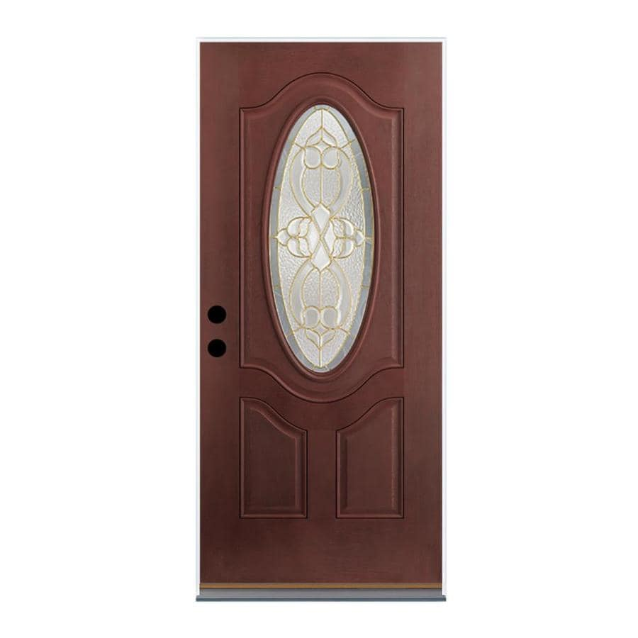 Therma-Tru Benchmark Doors Willowbrook 2-Panel Insulating Core Oval Lite Left-Hand Outswing Dark Mahogany Fiberglass Stained Prehung Entry Door (Common: 32-in x 80-in; Actual: 33.5-in x 80.5-in)