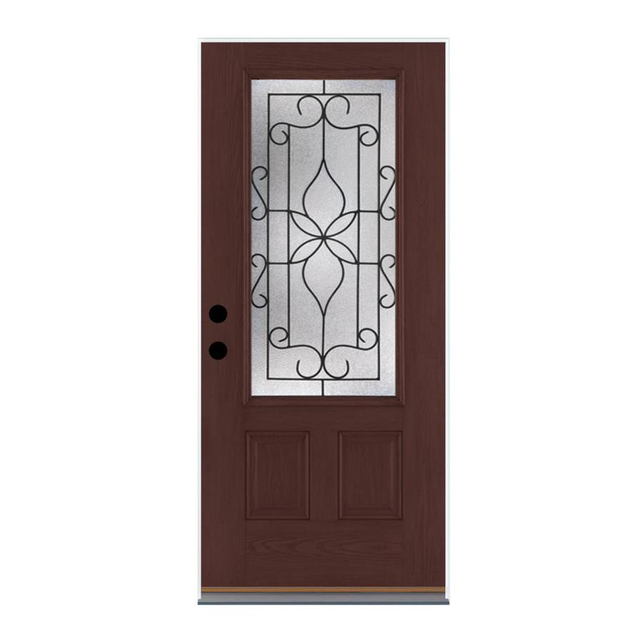 Therma-Tru Benchmark Doors Florentino 2-Panel Insulating Core 3/4 Lite Left-Hand Inswing Dark Mahogany Fiberglass Stained Prehung Entry Door (Common: 36-in x 80-in; Actual: 37.5-in x 81.5-in)