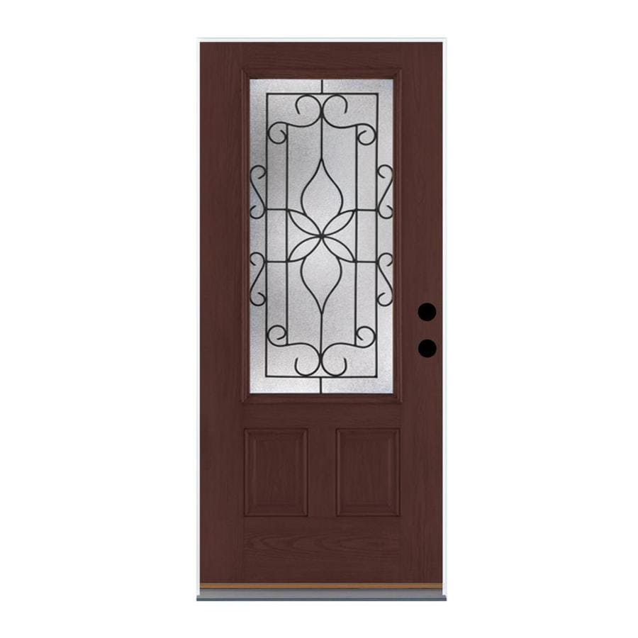 Therma-Tru Benchmark Doors Florentino Right-Hand Outswing Dark Mahogany Stained Fiberglass Entry Door with Insulating Core (Common: 36-in x 80-in; Actual: 37.5-in x 80.5-in)