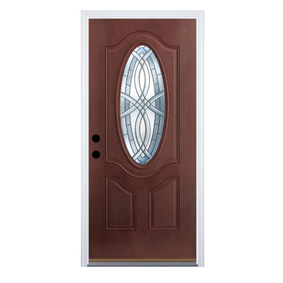 Therma-Tru Benchmark Doors TerraCourt 2-Panel Insulating Core Oval Lite Left-Hand Outswing Dark Mahogany Fiberglass Stained Prehung Entry Door (Common: 36-in x 80-in; Actual: 37.5-in x 80.5-in)